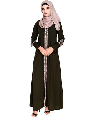 Olive embroidered nida abaya