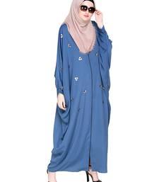 Teal-blue embroidered satin irani kaftan abaya