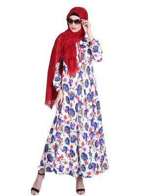 Multicolor embroidered crepe maxi dress abaya