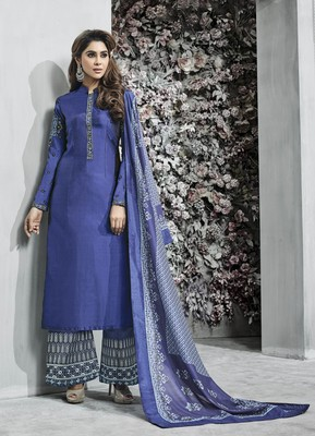 Blue embroidered banarasi silk salwar