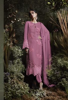 Dark-pink embroidered faux georgette salwar