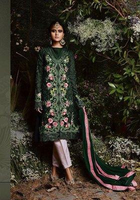 Dark-green embroidered faux georgette salwar