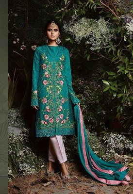 Teal embroidered faux georgette salwar