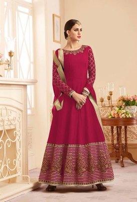 Rani-pink embroidered silk salwar