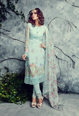 Light-sky-blue embroidered faux georgette salwar