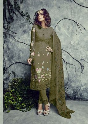 Mehendi embroidered faux georgette salwar