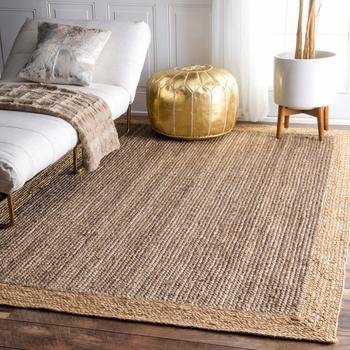 Hand Braided Bohemian Jute and Denim Cotton Area Rug Blue Colors Home Decor Rugs Floor Decor