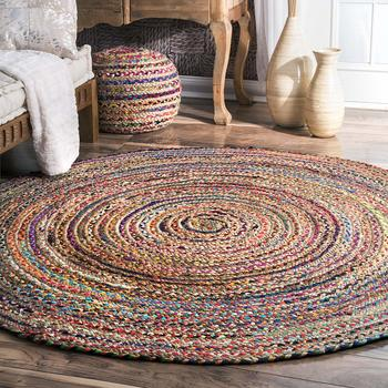 Hand Braided Bohemian Cotton Chindi Area Rug Ivory Color Home Decor Rugs Cotton Area Rugs Round Shape
