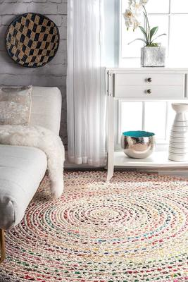 Indian Hand Braided Bohemian Cotton Chindi Area Rug Ivory Color Home Decor Rugs Cotton Area Rugs