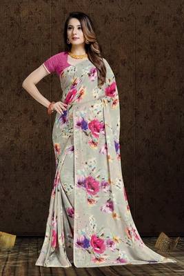 beige printed bemberg saree with blouse