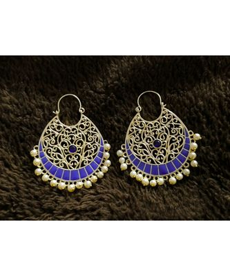 BLUE Meenakari Copper danglers-drops