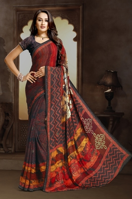 multicolor printed bemberg saree with blouse