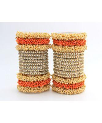 Orange Set Of 2 Lac Bridal Bangle Sets
