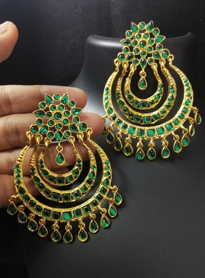 Charming Jewelry Designer Green Kundan Chandbali Earrings Set