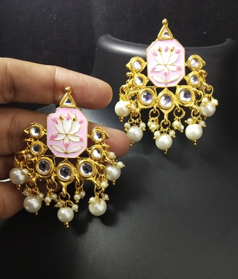 Magenta Pink Meenakari Pearl Kundan Alia Bhatt Copy Dangle Earrings