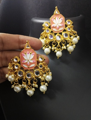Peech Pink Meenakari Pearl Kundan Alia Bhatt Copy Dangle Earrings