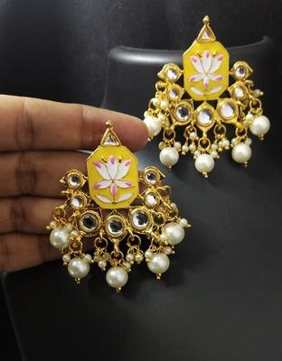 Yellow Pink Meenakari Pearl Kundan Alia Bhatt Copy Dangle Earrings