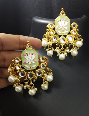 Green Pink Meenakari Pearl Kundan Alia Bhatt Copy Dangle Earrings