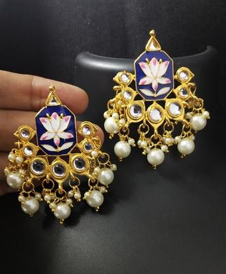 Royal Blue Pink Meenakari Pearl Kundan Alia Bhatt Copy Dangle Earrings