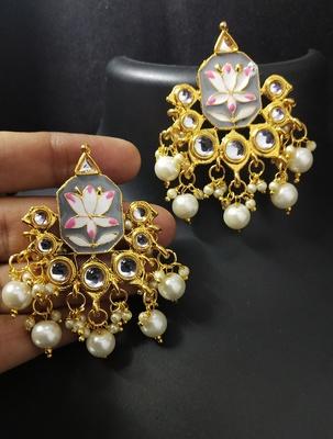 Grey Pink Meenakari Pearl Kundan Alia Bhatt Copy Dangle Earrings