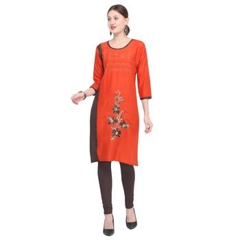 Orange embroidered rayon party-wear-kurtis