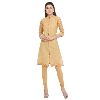 Beige plain cotton party-wear-kurtis