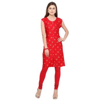 Red printed rayon party-wear-kurtis