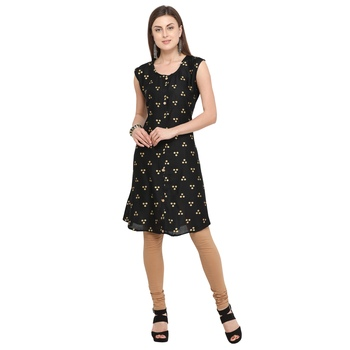 Black printed rayon party-wear-kurtis