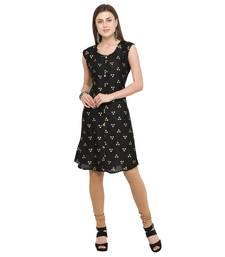Black printed rayon party-wear-kurtis