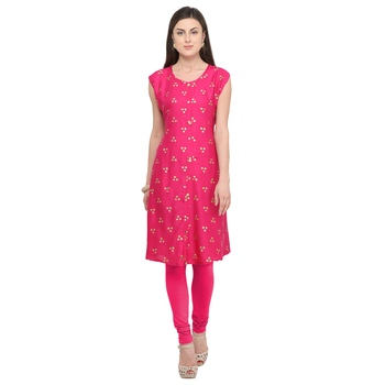 Pink printed rayon party-wear-kurtis