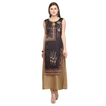 Beige plain rayon party-wear-kurtis