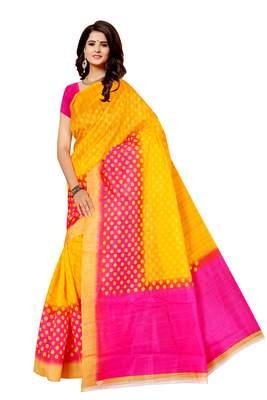 Yellow printed bhagalpuri saree with blouse