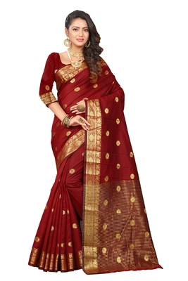 Brown woven cotton silk saree with blouse