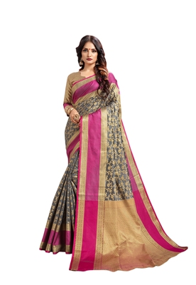 Grey woven art silk saree with blouse