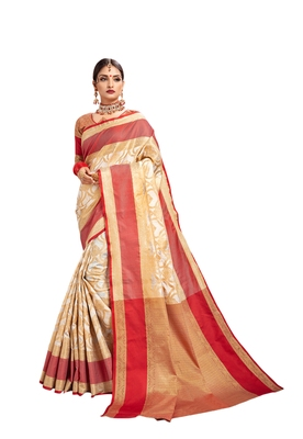 Off white woven art silk saree with blouse