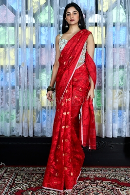 RED BANARAS JAMDANI SAREE WITH ALL OVER WEAVING