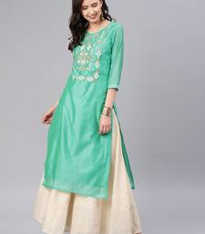 Teal embroidered chanderi kurtas-and-kurtis