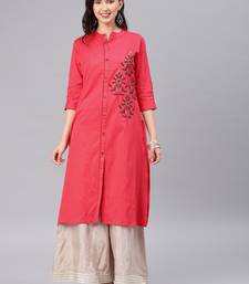 Coral embroidered cotton kurtas-and-kurtis