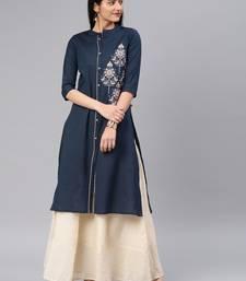 Dark-blue embroidered cotton kurtas-and-kurtis