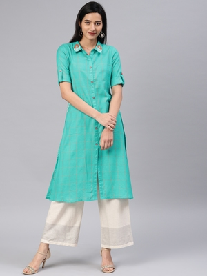 Turquoise embroidered cotton kurtas-and-kurtis