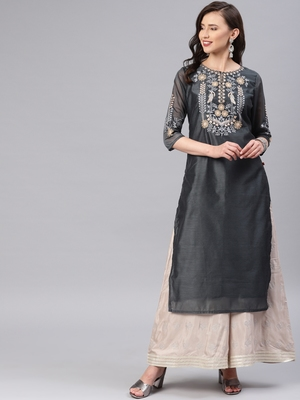 Grey embroidered chanderi kurtas-and-kurtis