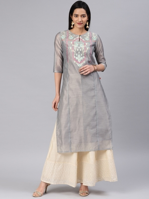 Grey embroidered chanderi kurtas-and-kurtis
