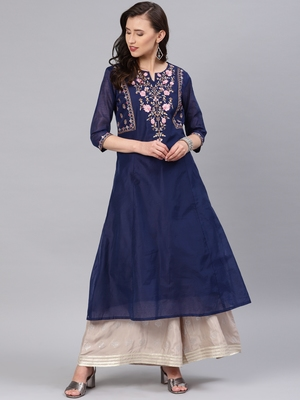 Navy-blue embroidered chanderi kurtas-and-kurtis