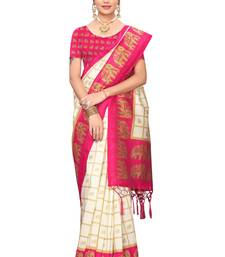 Pink and White Printed Mysore Art Silk Saree With Blouse