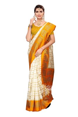 Yellow and White Printed Mysore Art Silk saree with blouse