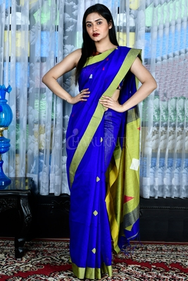 ZAFFRE BLUE BLENDED COTTON SAREE WITH GREEN WOVEN PALLU