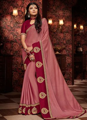 Rose embroidered silk saree with blouse