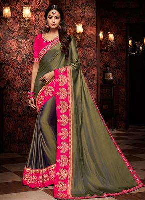 Dark olive embroidered silk saree with blouse