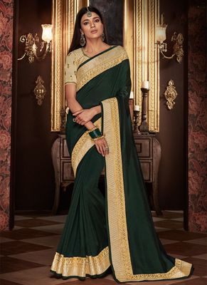 Jade embroidered silk saree with blouse