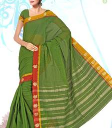 COTTON BORDER BUTTA MEHNDI SAREE shop online